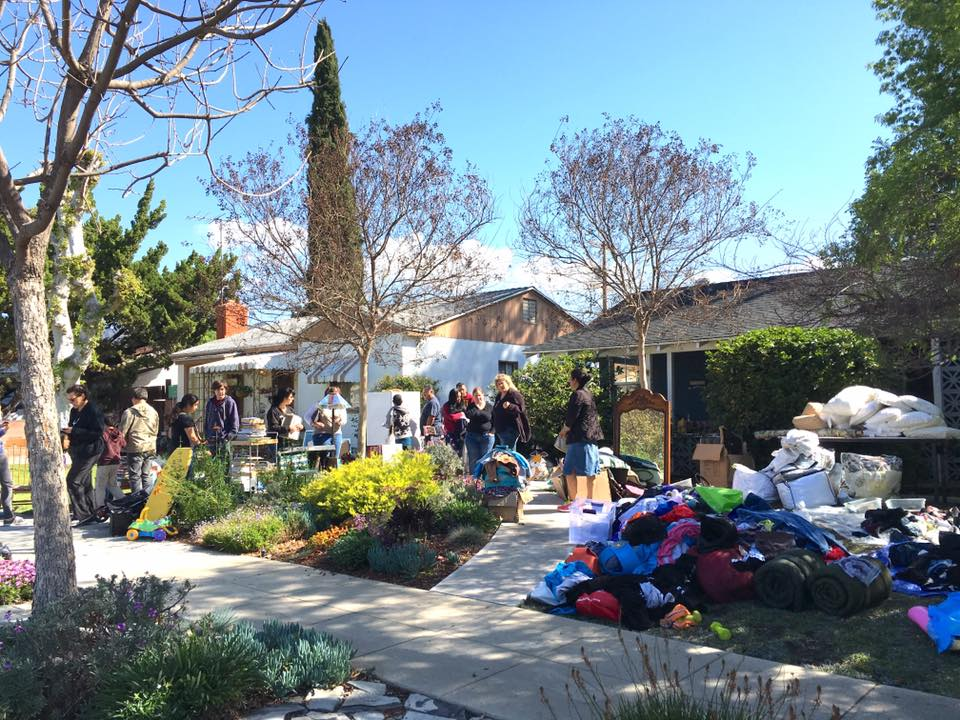 """March 12, 2016 - 3rd Annual LA Yard Sale - We had energetic helpers, Gillian, Kerry, Tracy, Ryan, Katherine and Erin (Lola's Foster mom), many friends who stopped by to shop, & great donators of """"treasures."""" We raised $1920!"""