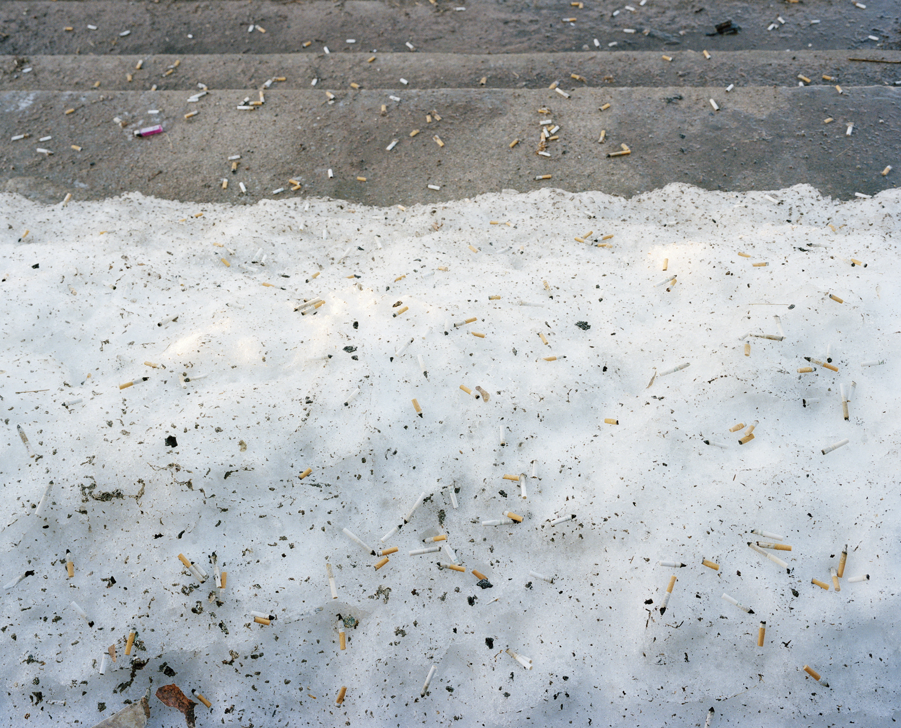 Rebecca Soderholm Cigarette Butts on Sunday Morning, Cleveland, NY, 2007 Ink jet print 9.5 x 11.75 or 16 x 19 inches