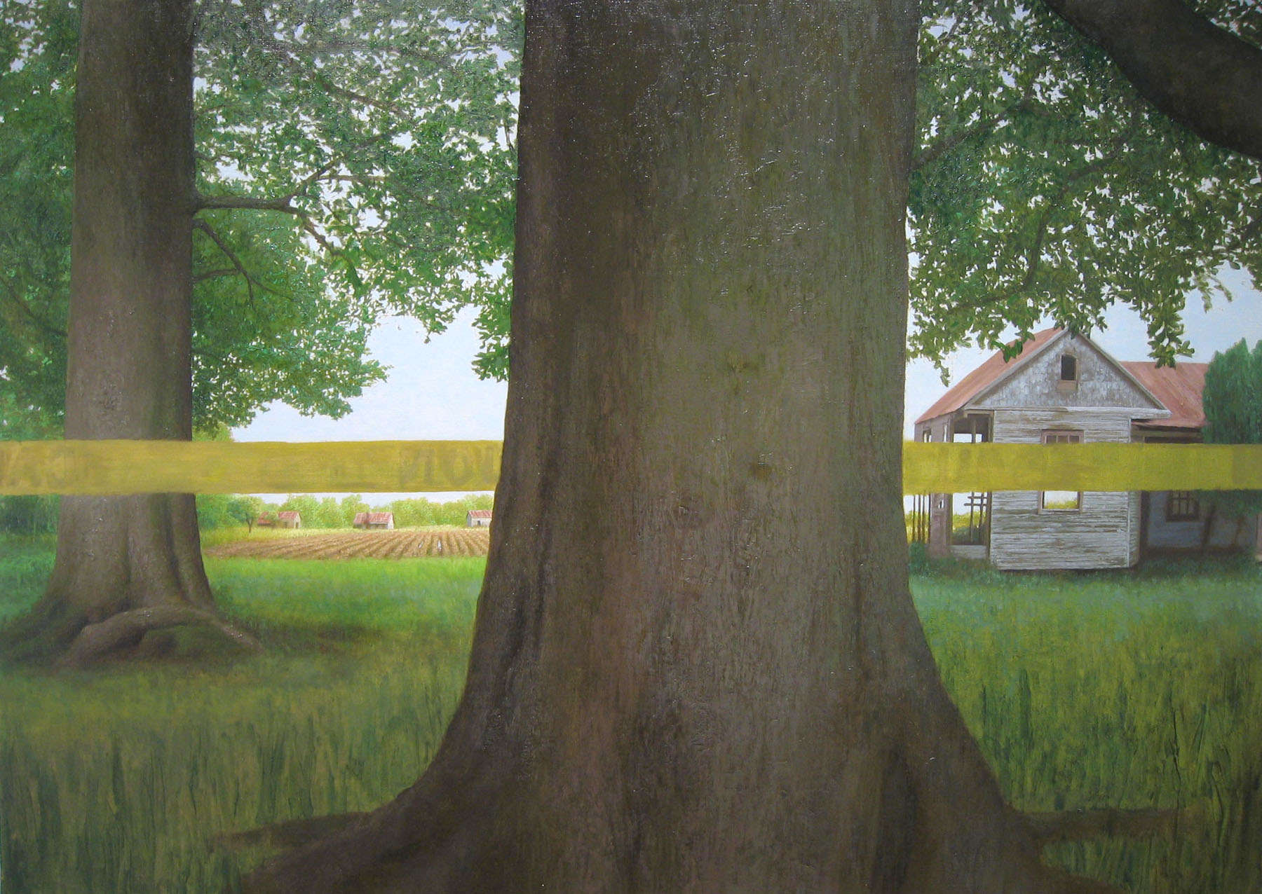 Bryan LeBoeuf   Slave Quarters,  2004  oil on linen  47 x 65 inches