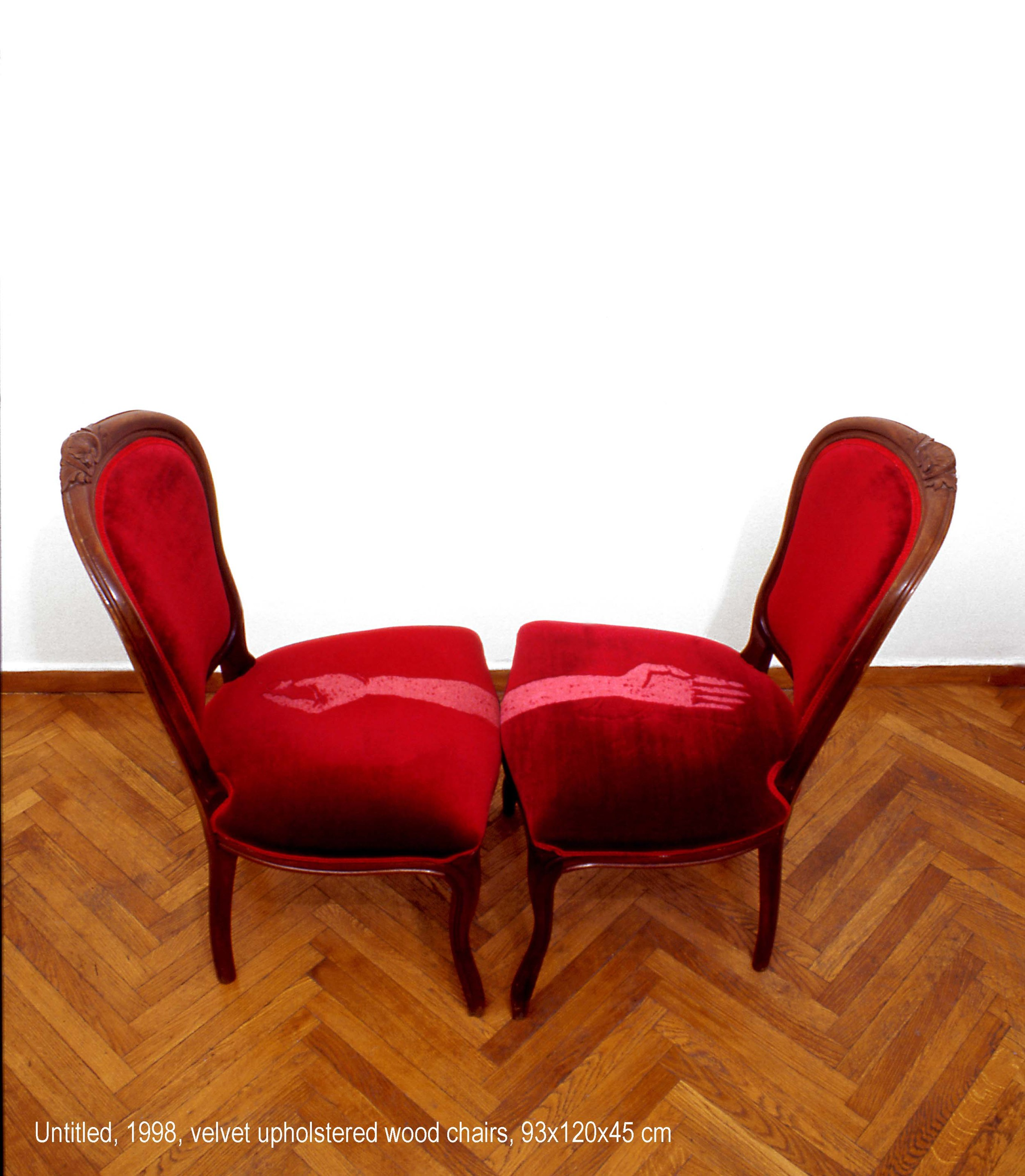 Maro Michalakakos   Untitled   1998  Velvet upholstered wood chairs  93x120x45cm