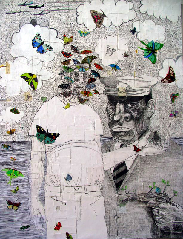 Matt Ernst   The Rise of Militant Butterflies,  2006  Mixed media on canvas  54 x 60 inches