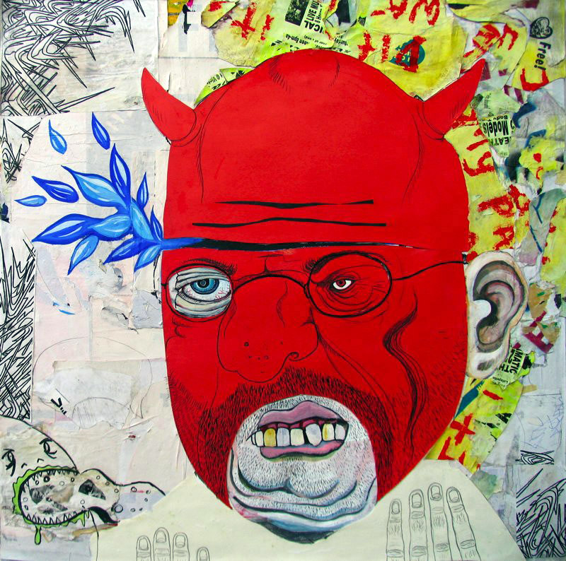 Matt Ernst   Innovative Damnation,  2006  Mixed media on canvas  36 x 36 inches
