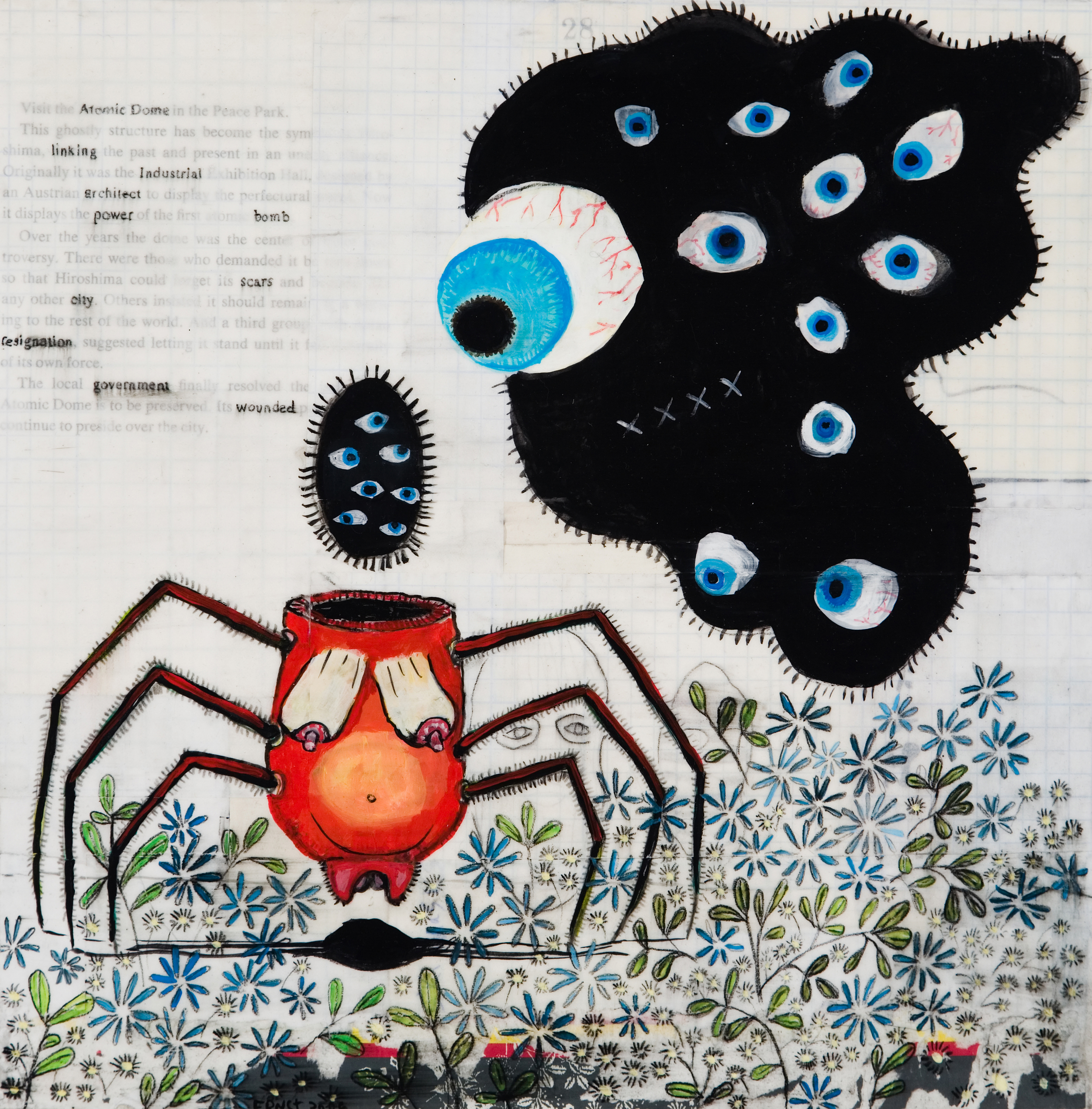 Matt Ernst   Spider,  2007  Mixed media on canvas  12 x 12