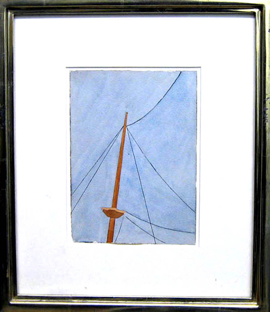 Ralston Crawford      Untitled (Top of a Mast),c.   1934    Watercolor on paper    7 1/2 x 5 7/16 inches