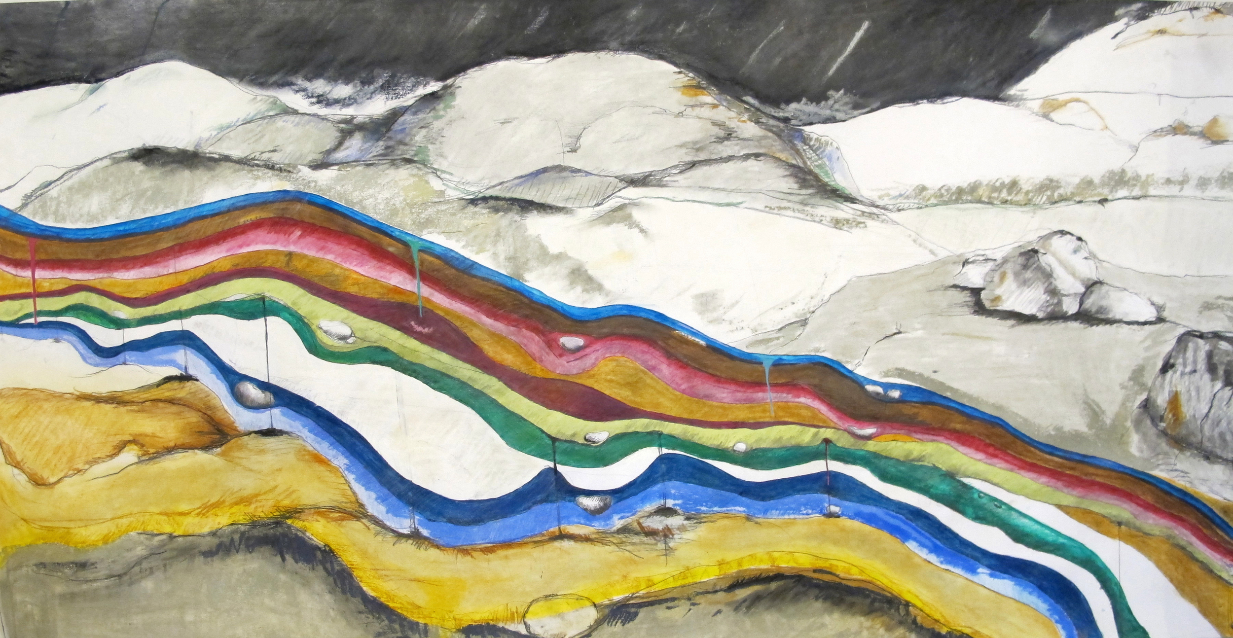 Jennifer Odem     Underpinning   , 2011    Charcoal, watercolor, and pencil on paper    36 x 69.5 inches