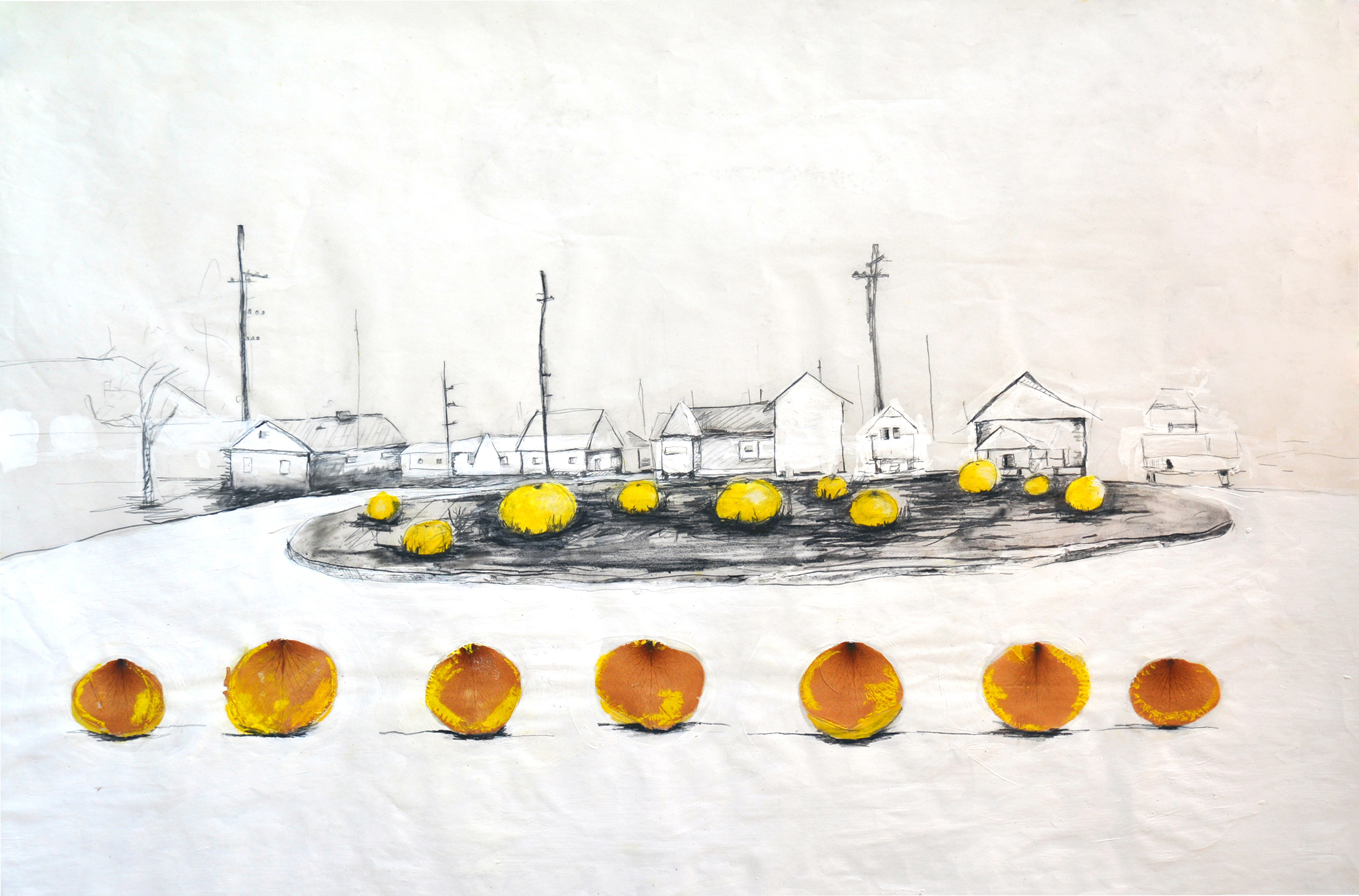 Jennifer Odem     Upper 9 Grapefruit Field   , 2009    Watercolor, collage, pencil, and acrylic on paper    20 x 30 inches