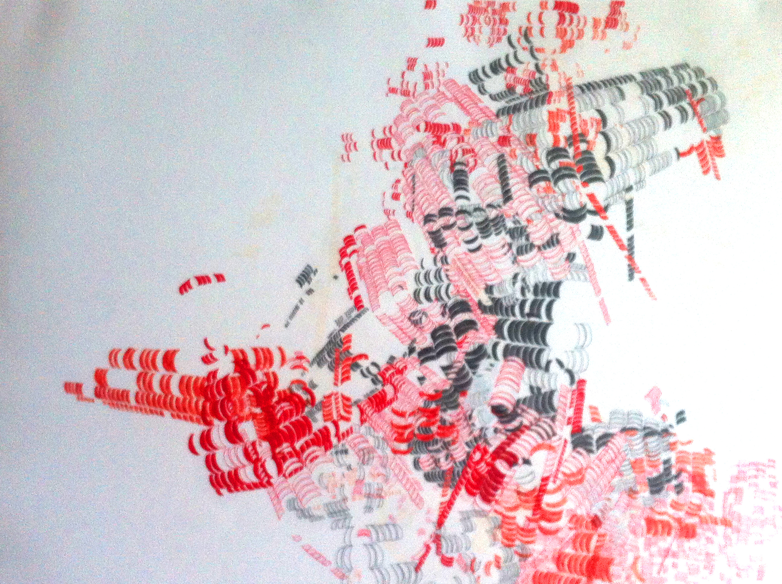 Caitlin Masley      Marina     City No. 4   , 2004    Red ink, graphite, white out and red pencil on paper    19 1/4 x 24 inches