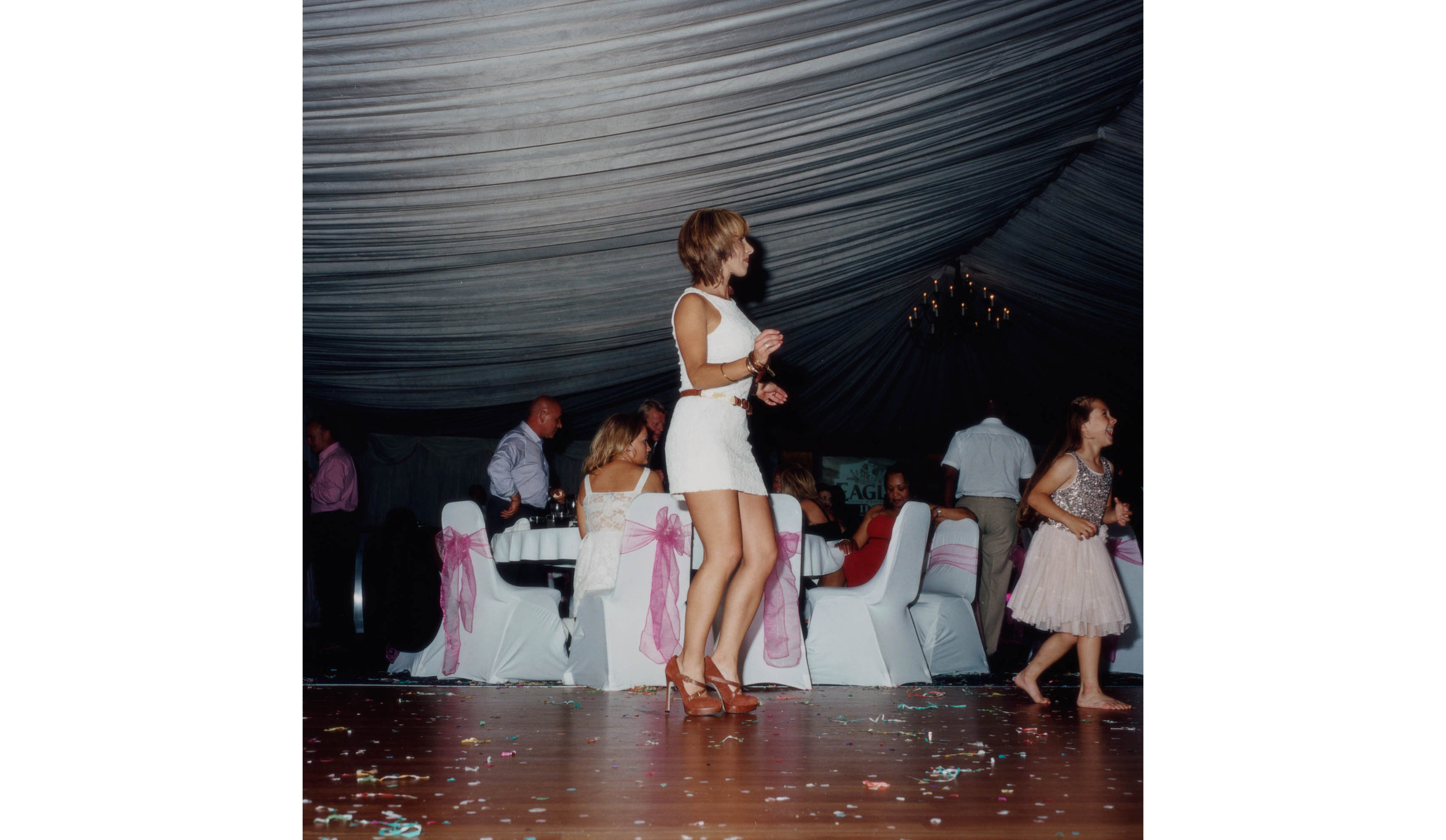 Woman dancing, Tara & Vito's Wedding, Bedford, UK , 2013                                                              C-type print, 32 x 32 inches
