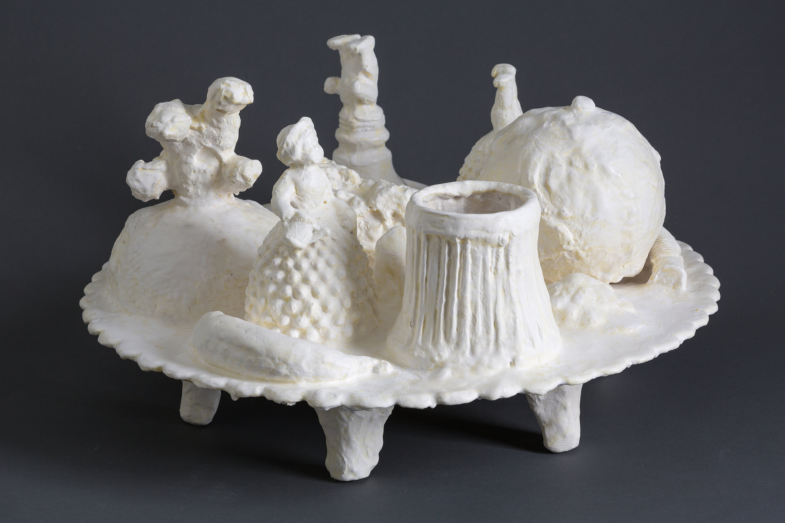 Jennifer Odem    Flummery,    2012    Cast hydrocal, found objects    7 inches high