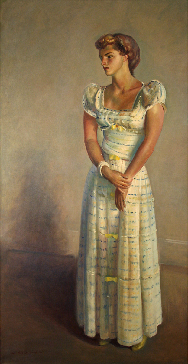 Guy Pène du Bois Portrait of Patricia Pike in White Dress, 1941 Oil on canvas 74 1/2 x 40 inches Signed and dated, l.l.