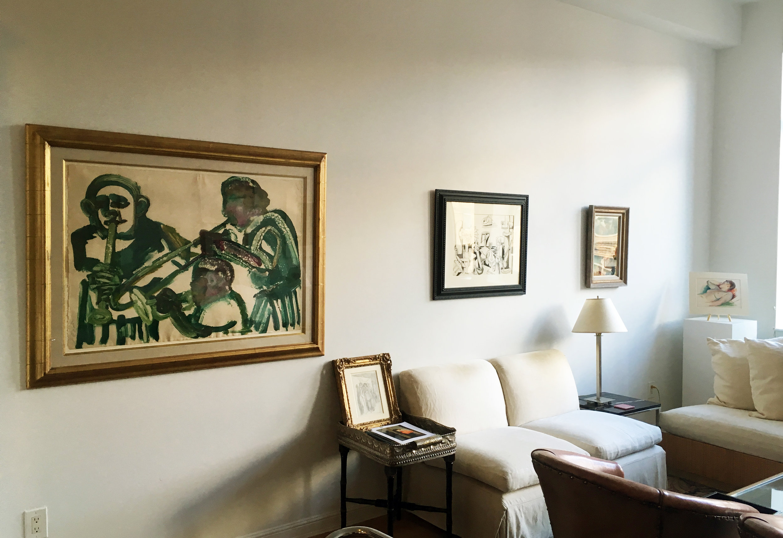 Pictured (left to right): Romare Bearden,  Jazz Trio  (1986'-'87); Jan Matulka,  Cape Ann Still Life  (ca. 1929); George Grosz,  City Scene  (1933); Guy Pene du Bois,  Stephanie  (1941)