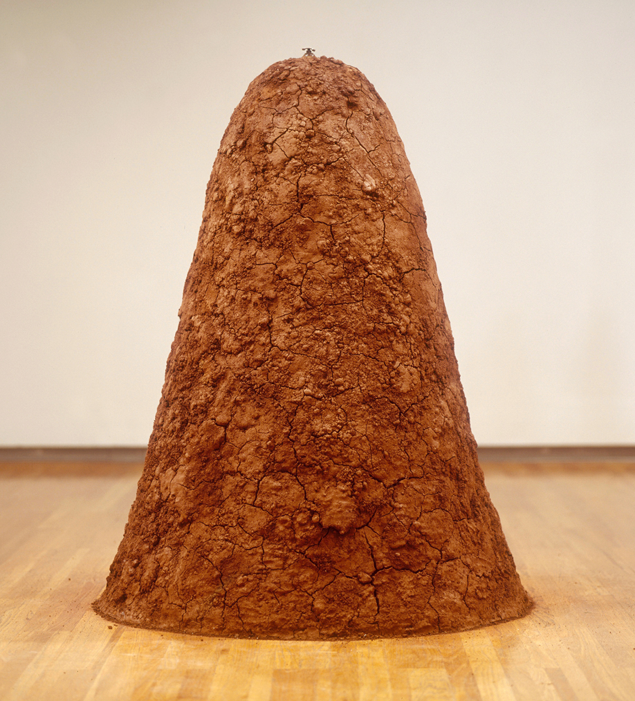 Jennifer Odem  Earth Mound , 2006 Plaster, soil and brass pressure valve; 60 x 36 x 36 inches  Collection of the artist, ©Jennifer Odem