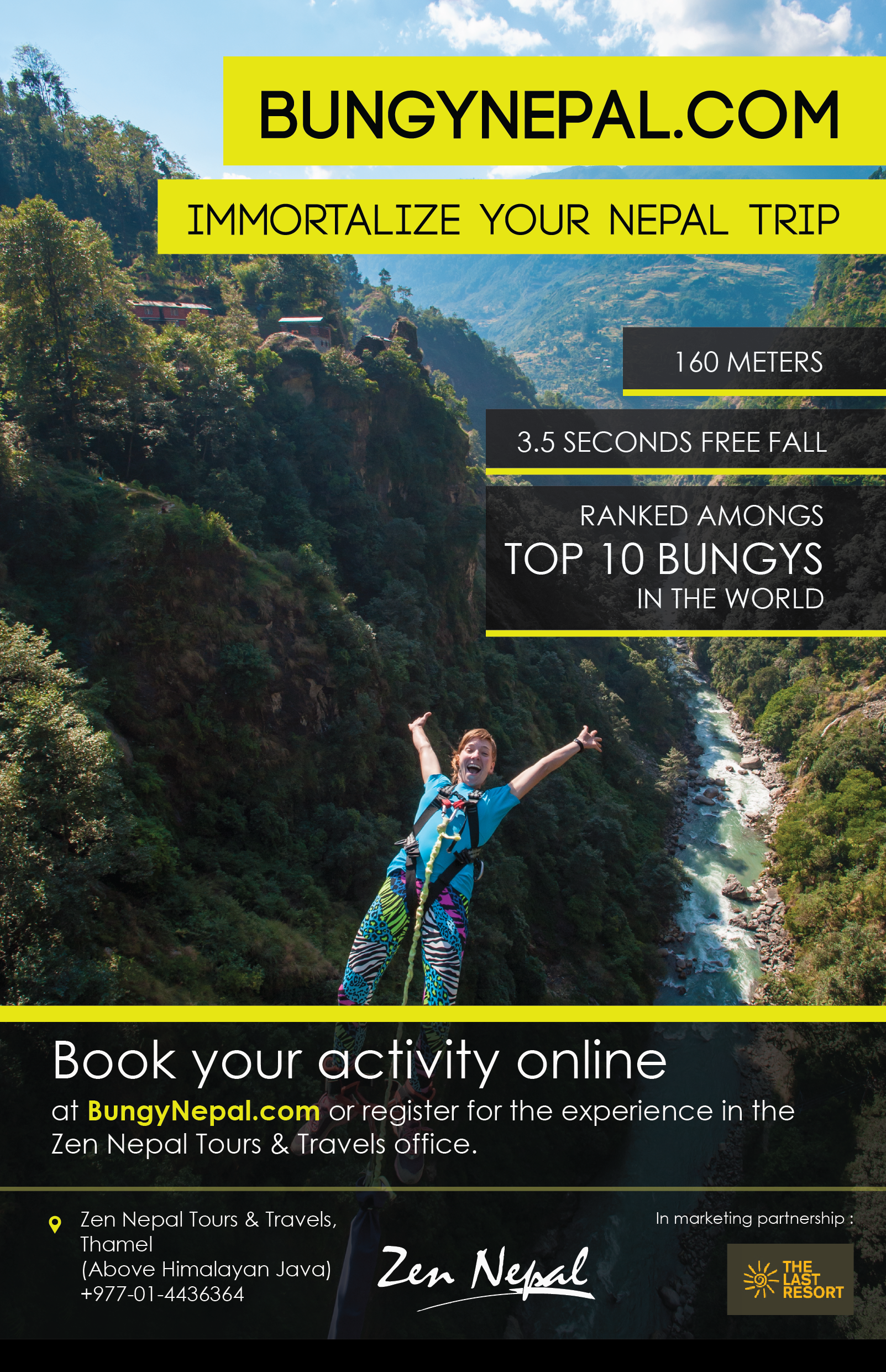 This flyer is used to promote bungy Nepal in the Thamel and Boudha areas.