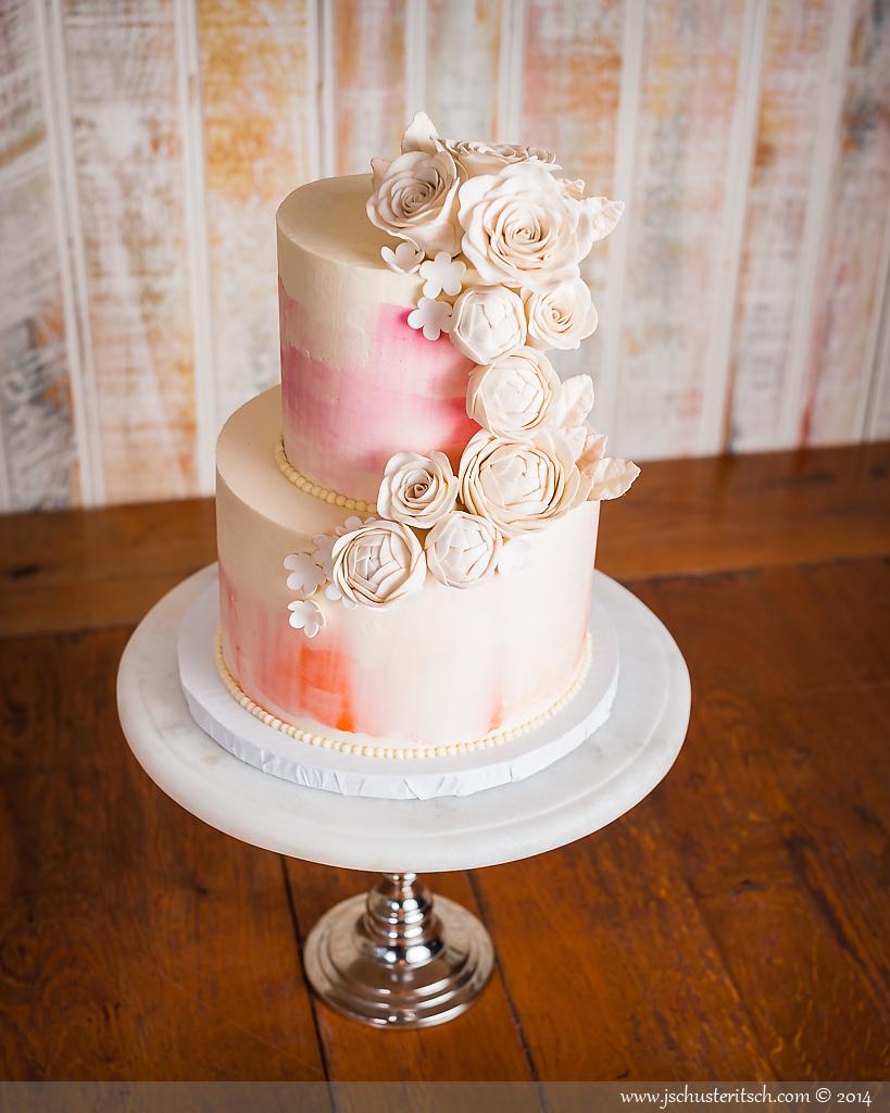 2 tier watercolor cake - sugar lane cake shop
