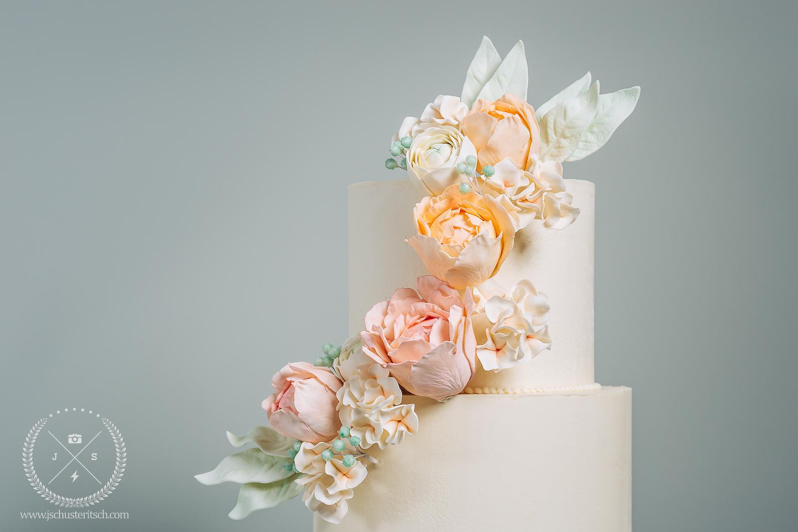 Spring Peony Bridal Shower Cake - Sugar Lane Cake Shop