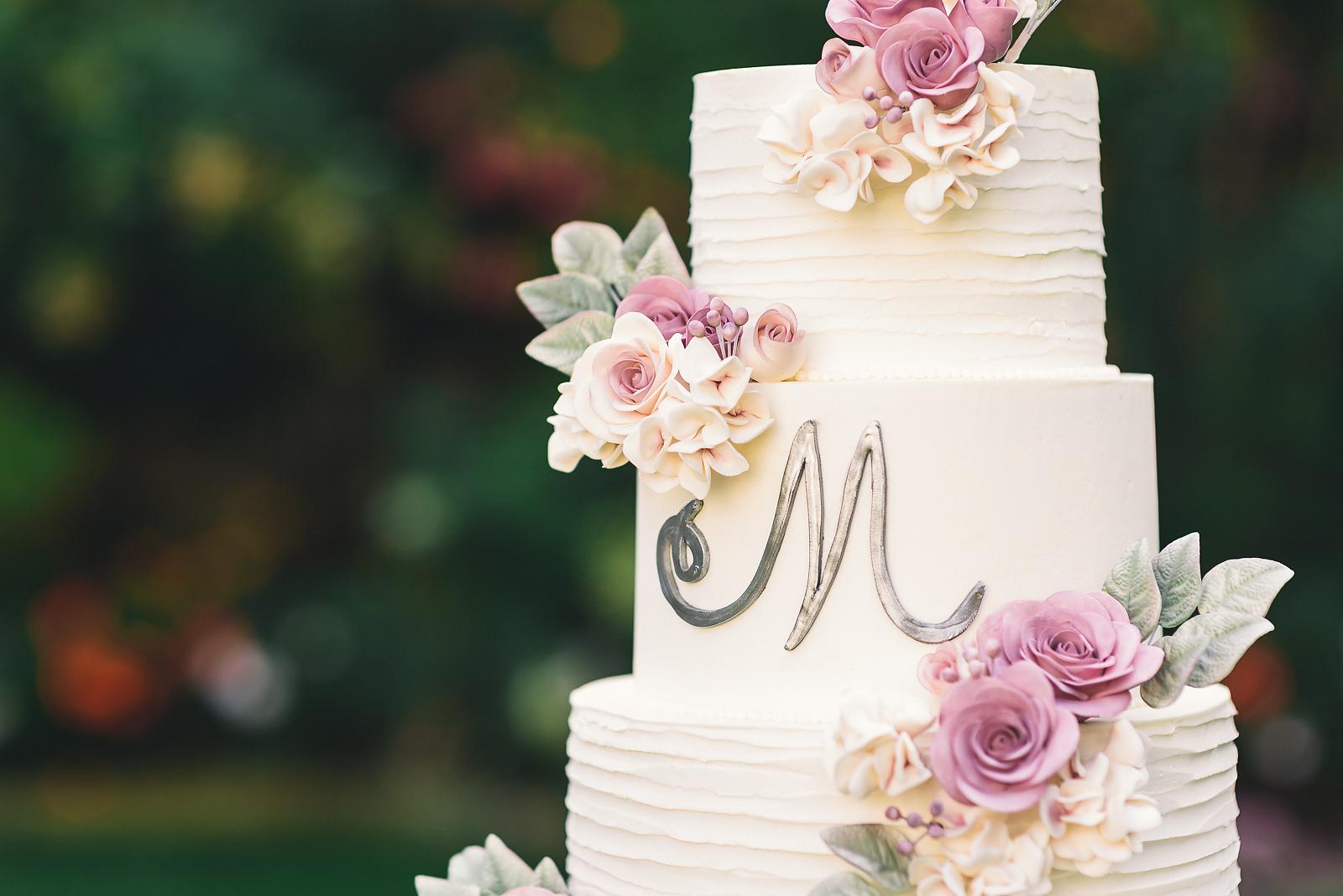 Ruffled Rose Wedding Cake - Sugar Lane Cake Shop