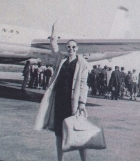 Judith Lenore Latimer in the 60s flying to perform with José Límon Dance Company.