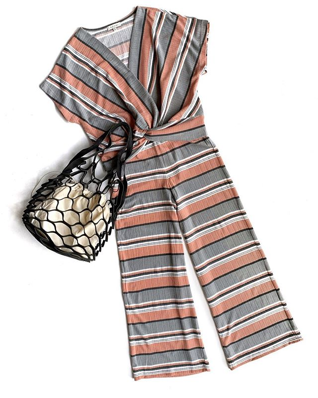 Fresh spring arrivals are hitting the sales floor, like this comfy striped set. The tote is a Minneapolis exclusive, also available in camel and blush.