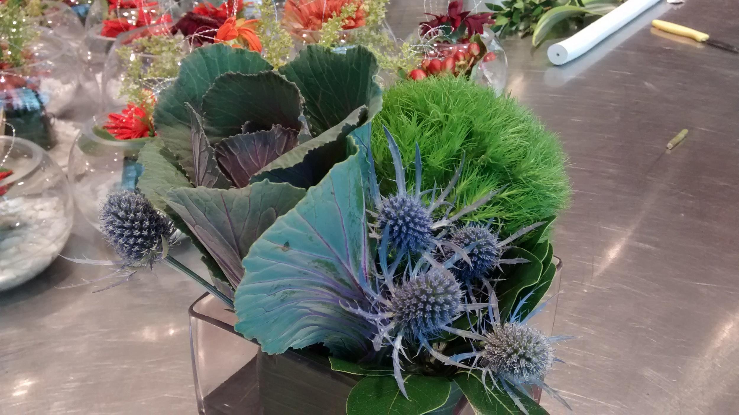 Ornamental kale floral arrangement