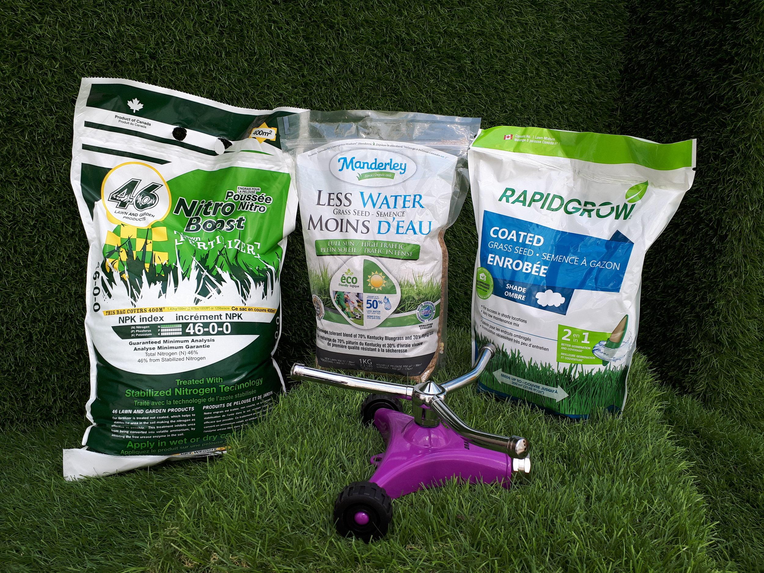 Nitro Boost Fertilizer, Manderley's Drought Tolerant Grass Seeds, and Rapidgrow's Shade Tolerant Grass Seed.