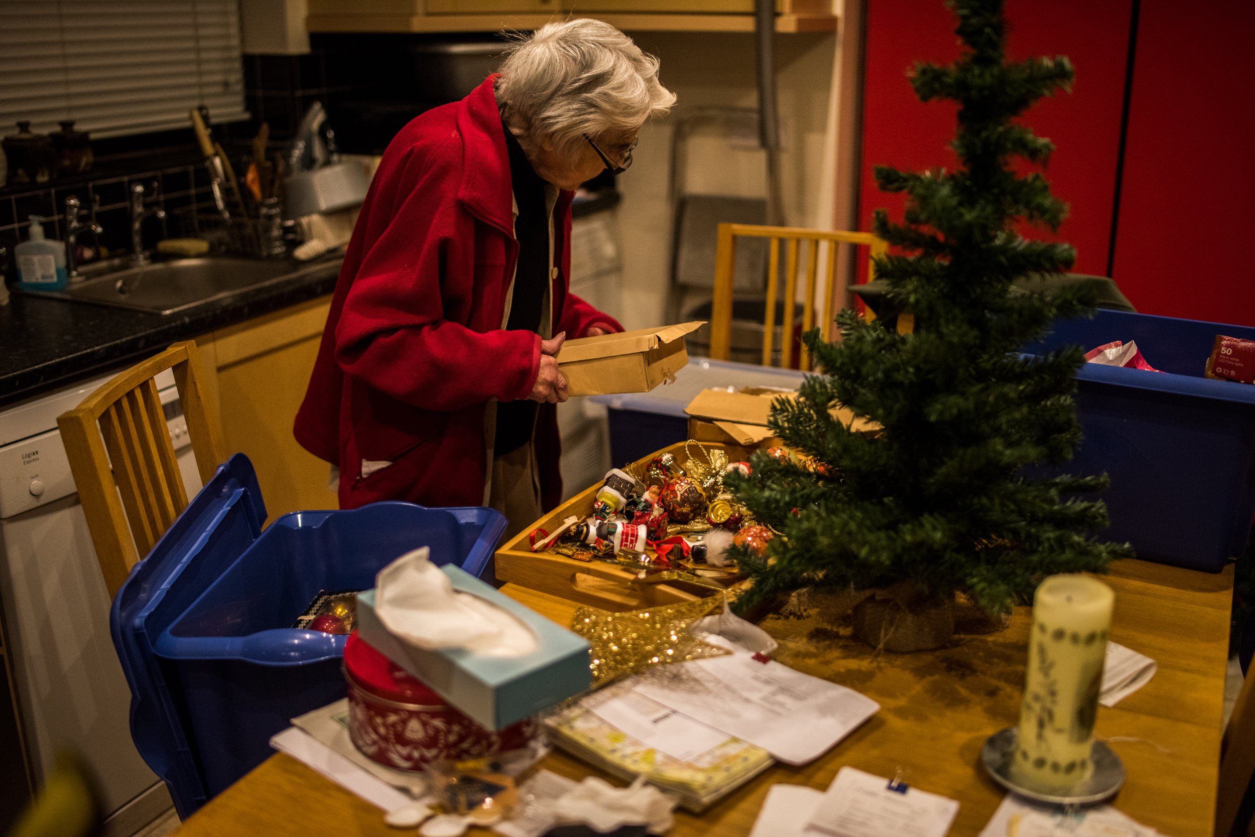 Packing away Christmas decorations