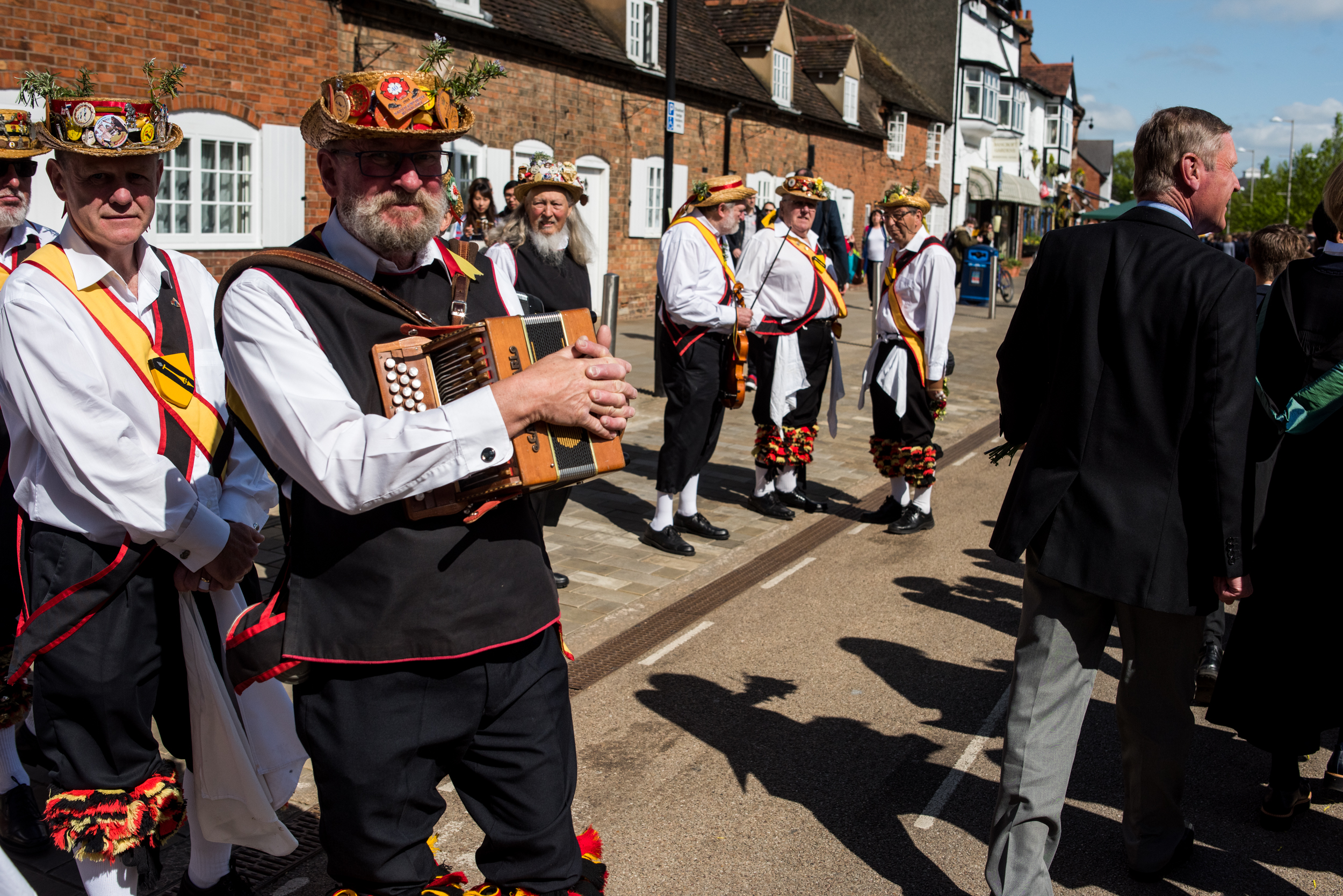 Morris Dancers Waiting To Join The Shakespeare Birthday Celebration Parade. Stratford-upon-Avon, England, 2017