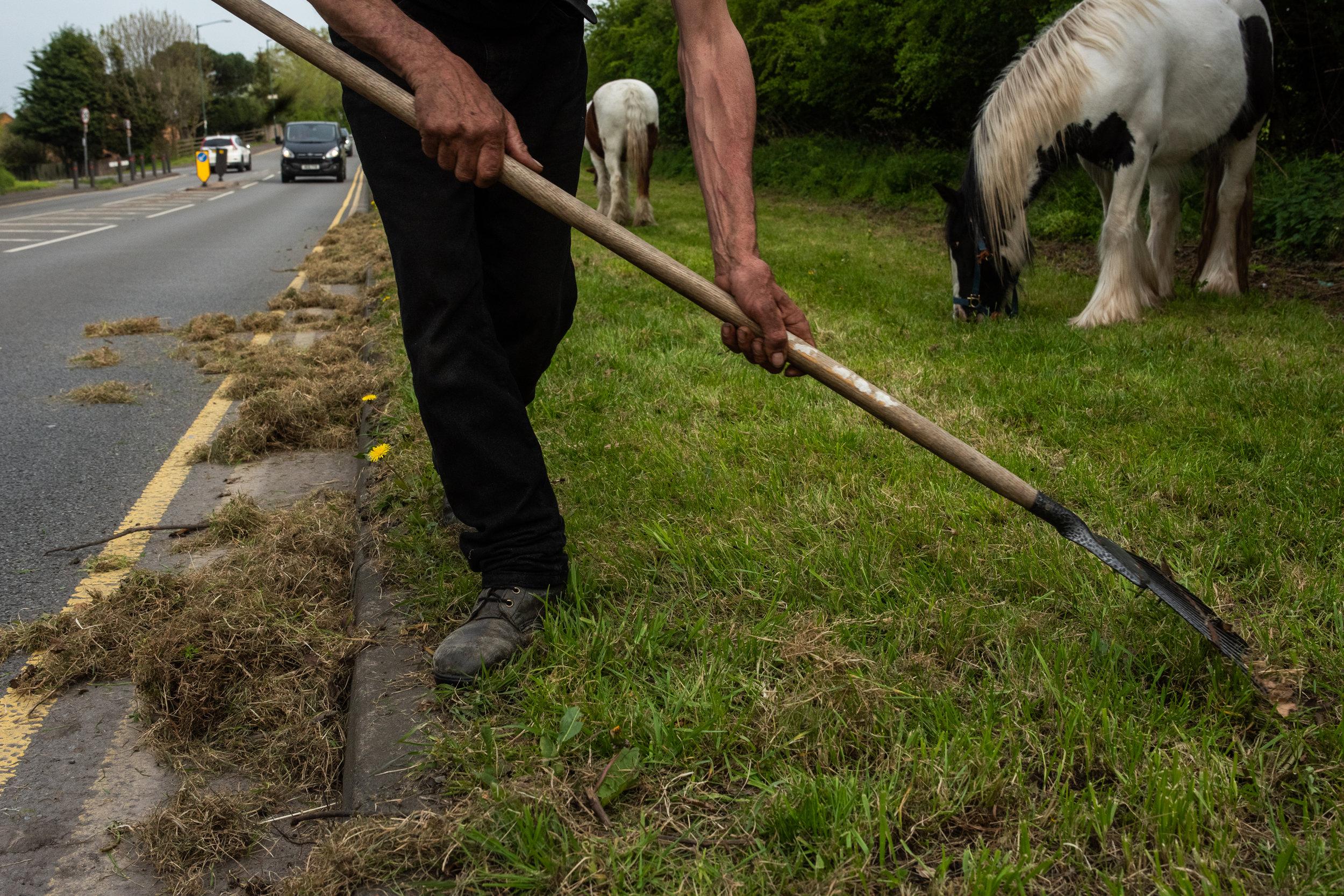 Pete raking grass