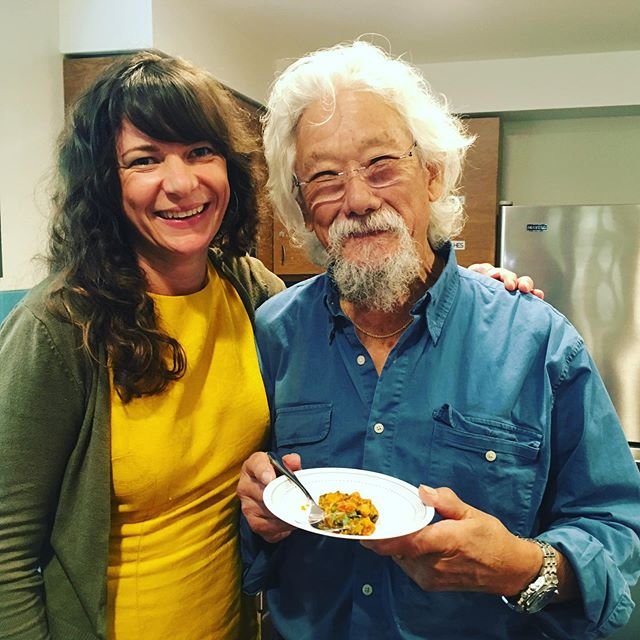 Career highlight!!! Feeding @davidsuzukifdn lunch & talking about good food for #agingwell Feeling very #honoured #bestdayever #jobwelldone SuzukiSecrets Revealed: he grows his own pumpkins & loves making pie! And his secret stuffing ingredient is water chestnuts for the crunch. Happy Thanksgiving to you fine sir! Giving thanks for your decades of #advocacy & #inspiration