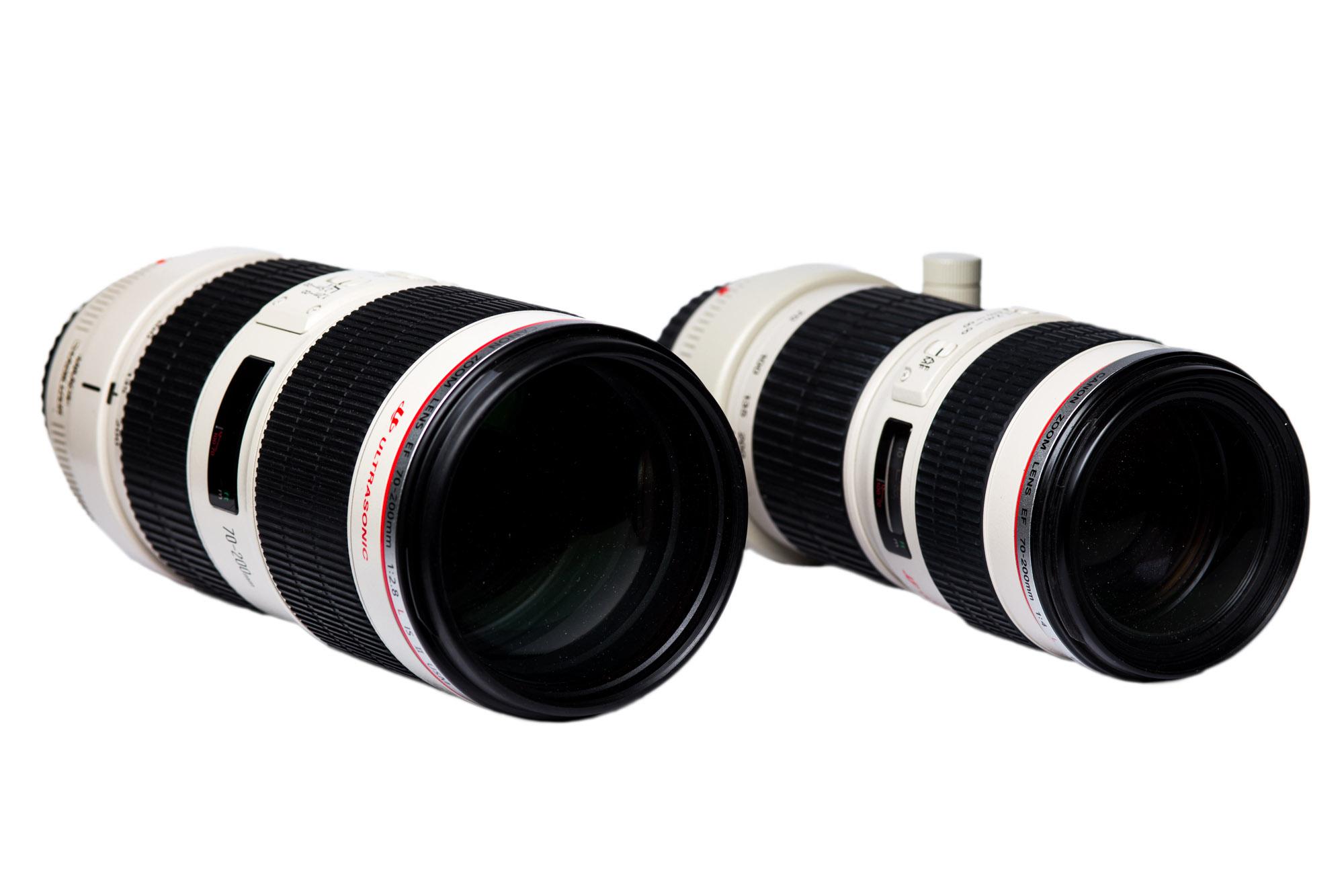 Canon EF 70-200/2.8 L IS USM II (rechts) gegen Canon EF 70-200/4 L USM (links). Bezüglich Handlichkeit und Transportabilität gewinnt das Lichtschwächere Modell. In sachen Stabilität Bildqualität und Lichstärke gewinnt das 70-200/2.8 L IS USM II. Wer also unbedingt ein leichtes Objektiv braucht muss zum f/4 Modell greifen.
