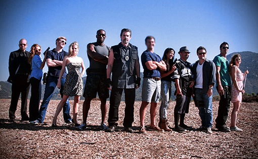 """Full cast shot of Spike Tv's hit production, """"The Joe Schmo Show"""". I wound up becoming very good friends with Lorenzo Lamas, second to last on the right."""