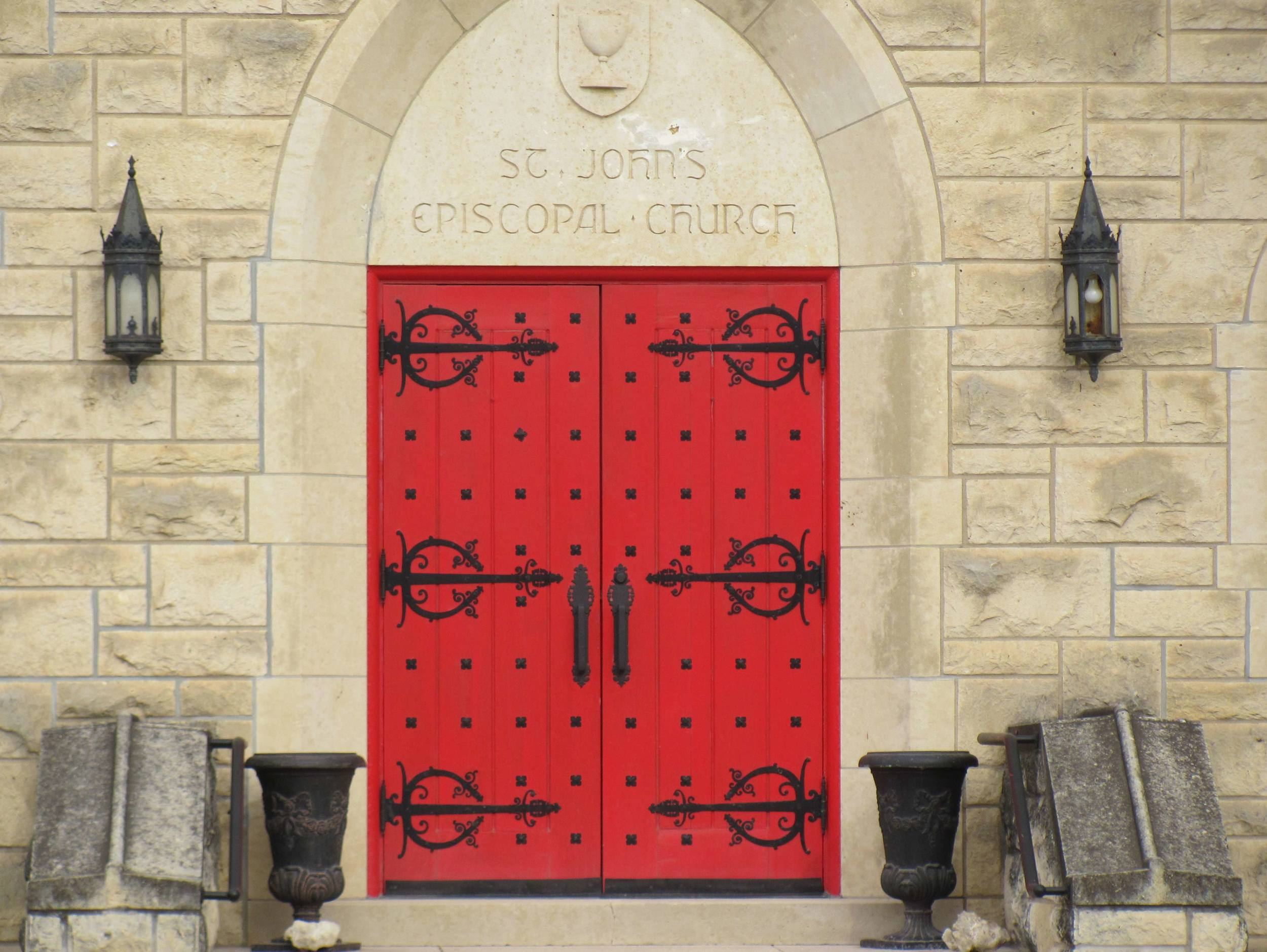 Emblematic of many Episcopal churches, the red doors of St. John's are open to all.