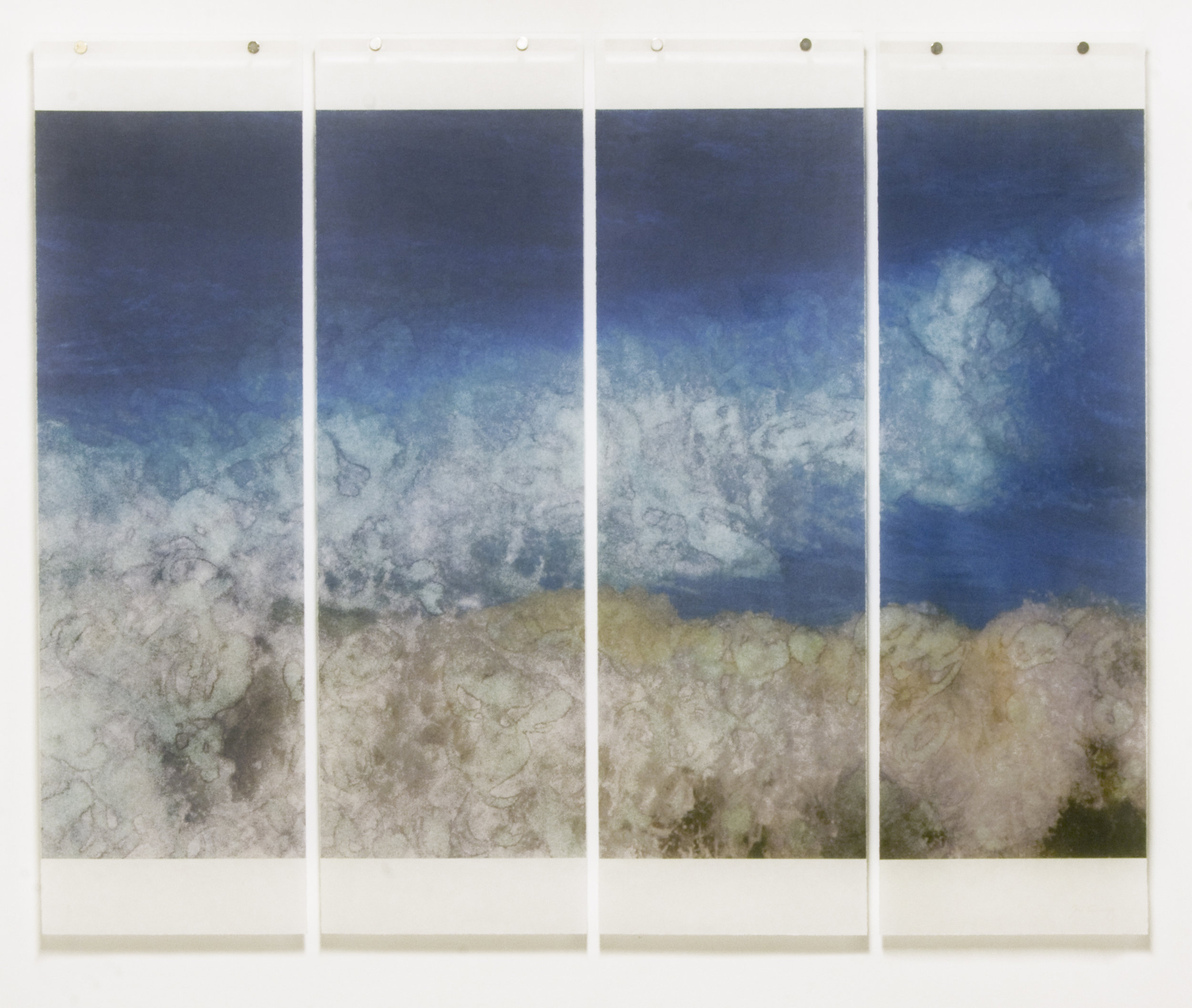 "Warm Waters, No.2,  36"" x 45.5"", Pigment Ink on Japanese Kozo with Encaustic Medium"