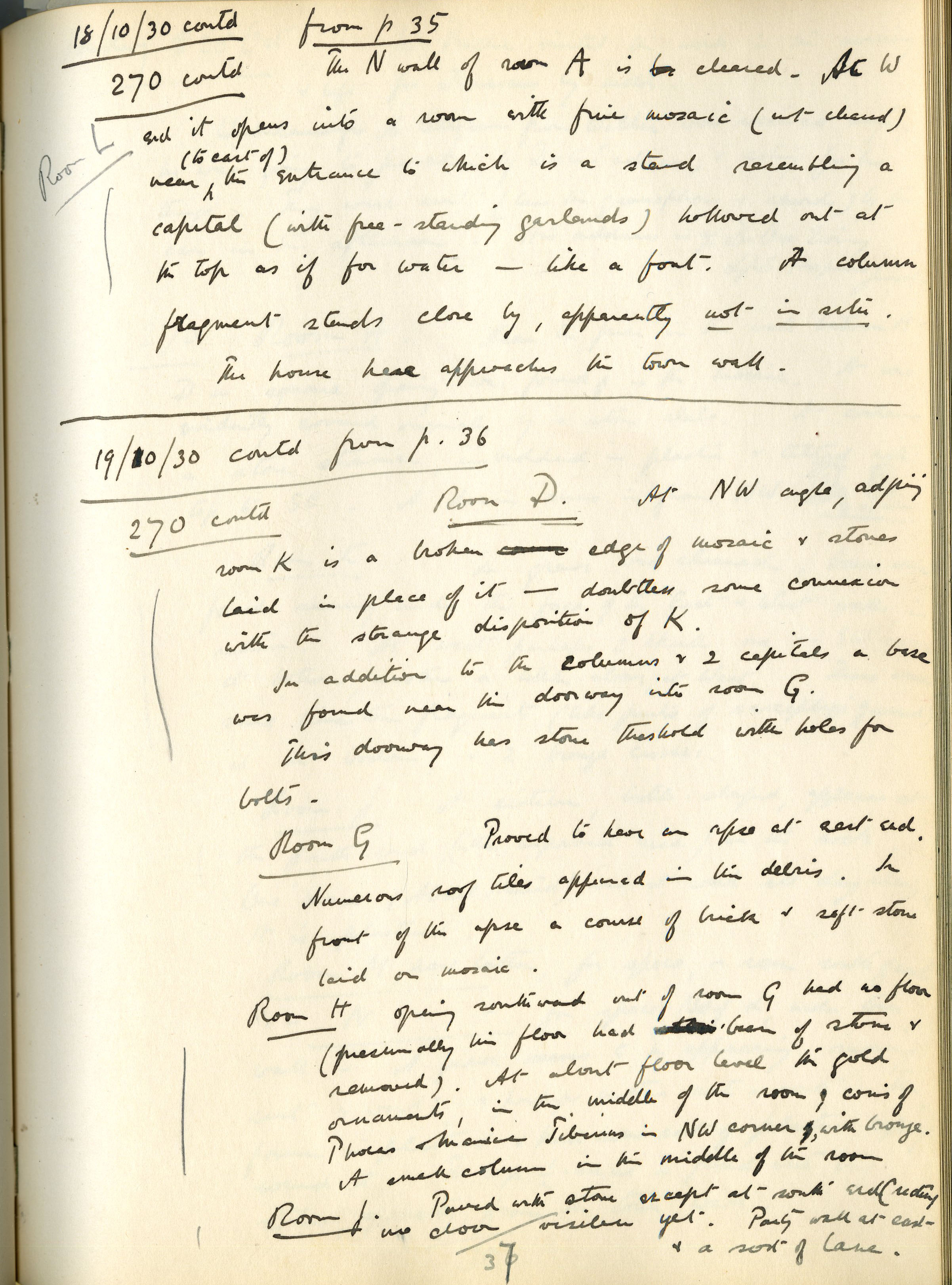 FitzGerald's Field Diary from October 19, 1930, the day the gold coin hoard was discovered in the  Our Lady Monastery .