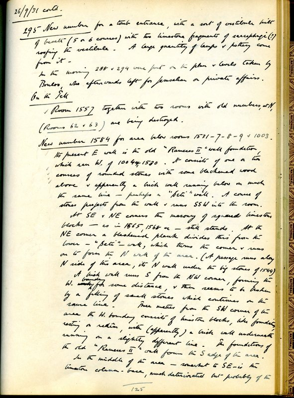 Page from Fitzgerald's field diary, describing the discovery of Tomb 295.