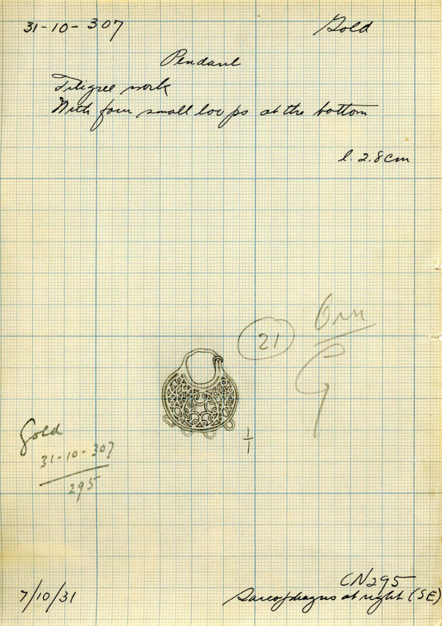 Card catalog drawing and entry for the earring