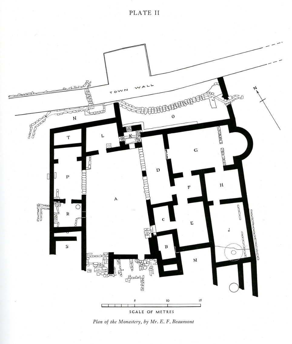 CN 270 , This object was found in Room H along with other coins and jewelry of the Our Lady Monastery , Beth Shean, 1930. Plan fromFitzgerald, Gerald M. 1939. A Sixth Century Monastery at Beth-Shan ,plate II.