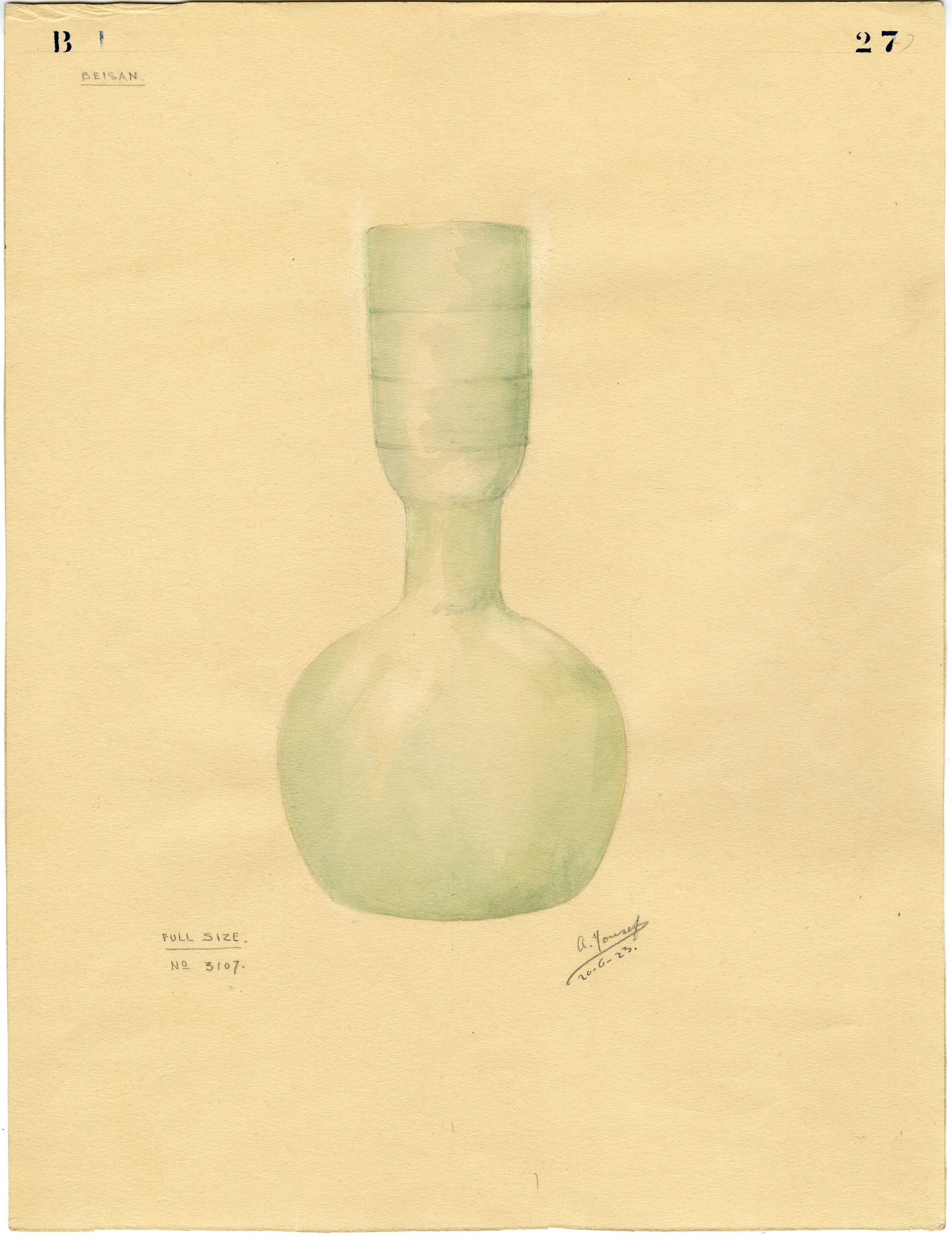 Watercolor of glass pot # 3107, from the Fisher excavations.