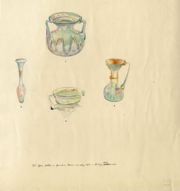 Watercolors of four glass vessels found in the Northern Cemetery in 1926.