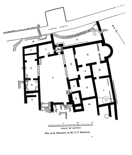Plan of the Monastery of Lady Mary.   From Fitzgerald, Gerald M. 1939.  A Sixth Century Monastery at Beth-Shan , plate II.