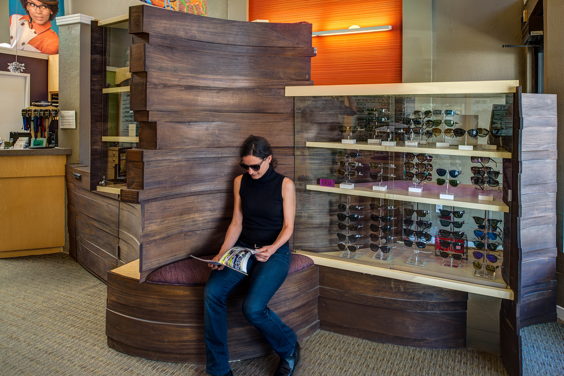 Design and fabrication of bentwood display case/ seating for optometry practice and store in Oakland.