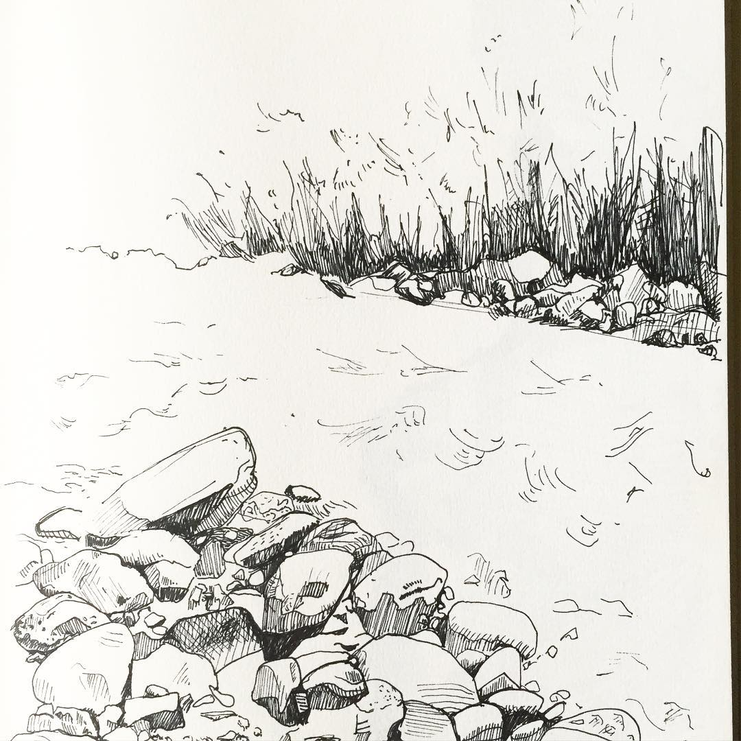 a sketch from Colorado #troutstream #penandink #acgontheroad