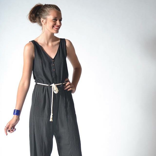 thanks @showroommpls for this lovely shot of our rope-tie jumpsuit. seen here with jewelry by #milanastile #acgmpls #slowfashion #jumpsuit #cotton