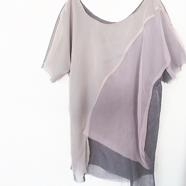 Getting creative in the studio today! this sheer mauve tee reminds me of thunderclouds. One of a Kind!! - only $50 - size s/m - goes to the first person to #Regram this photo and leave your email below. #acgmpls #thunderclouds #slowfashion #independantdesign #sheer #geotee #rawedges #asymmetrical #oneofakind #thisisyouronlychance