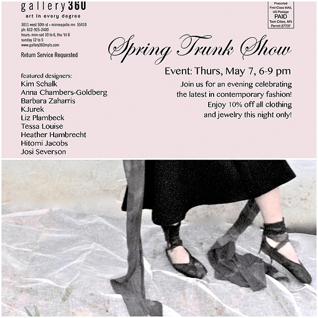 Gallery 360 Spring Trunk Show is coming up! so honored to be participating. Come check out amazing new designs by local artists and receive a one-night-only discount! #may7thevent #minneapolis #minneapolisfashion #galleryshow #tessalouise #kjurek @gallery360mpls