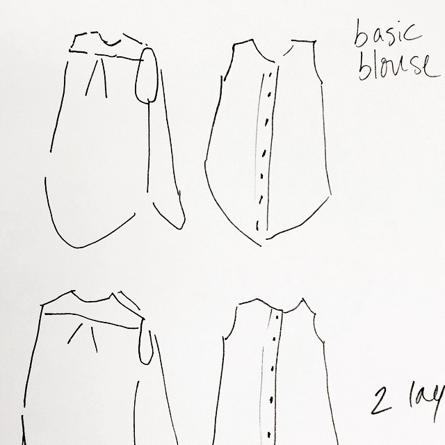 working on a new design - a simple blouse to use all those thunder-colored cottons I dyed today. #fashionsketch #workingatwork #penandink #springblouse #comingsoon