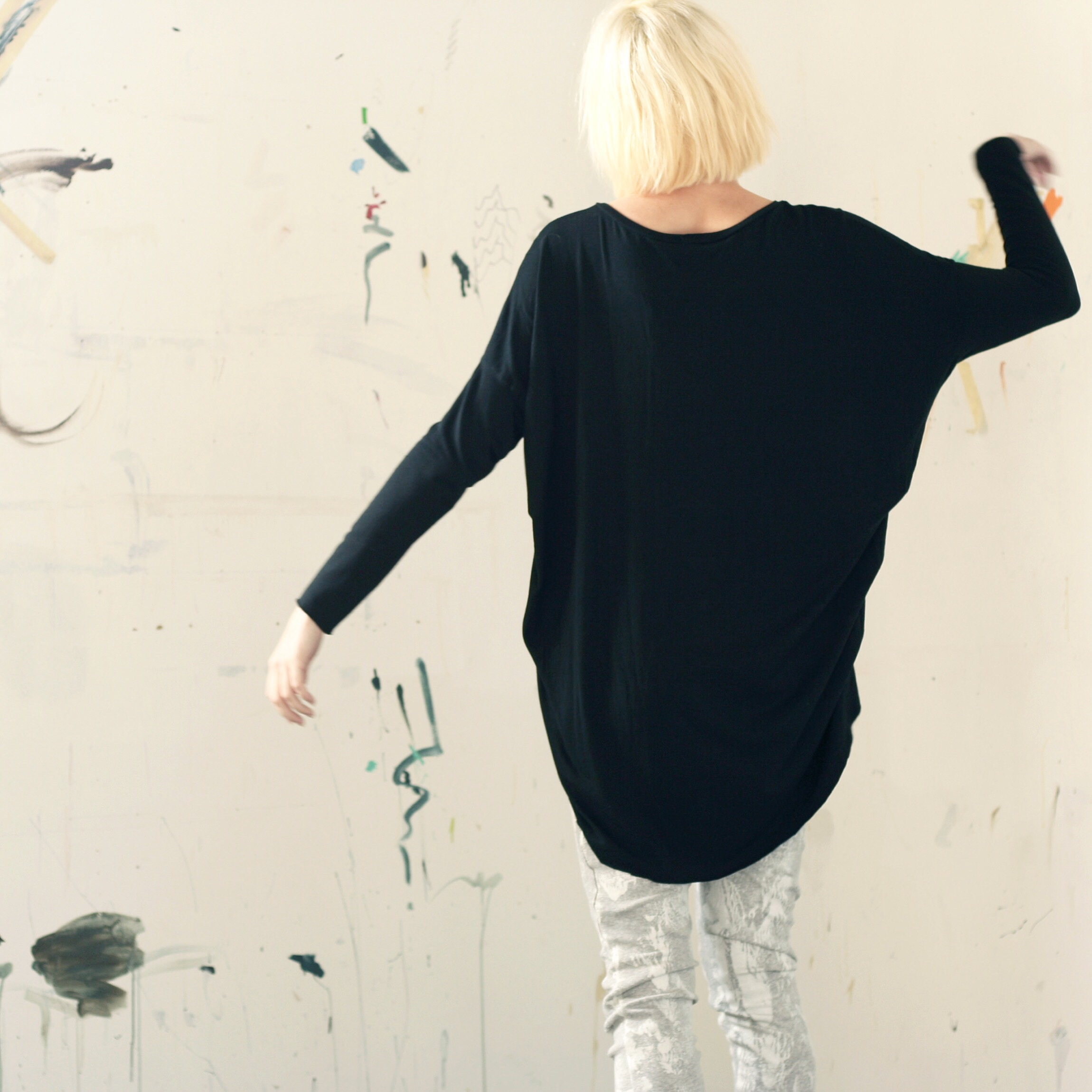 Black Drape Shirt- pictured here with our Gingko leggings- which are currently on sale on our web shop!