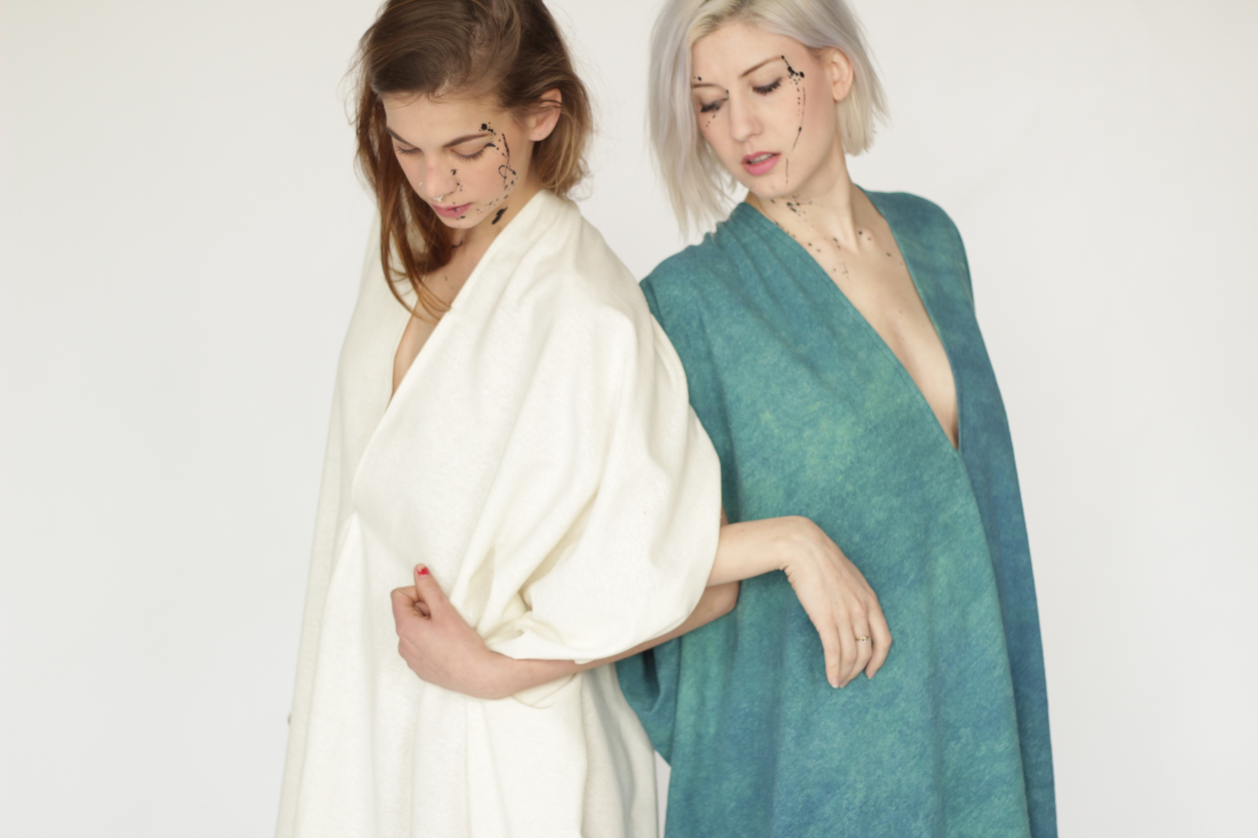 Silk Noil Caftan Dress, Natural or Rainforest