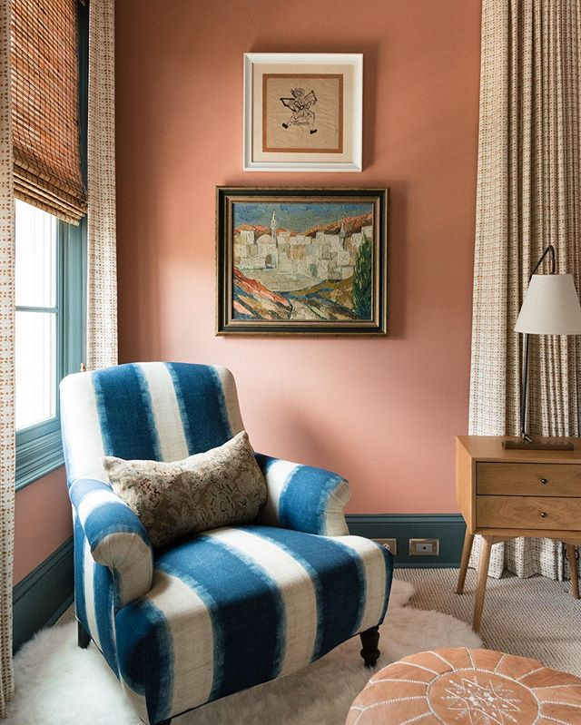 Super cozy little moment in a guest bedroom we recently rephotographed. This was a bold wall color choice (BM Farmer's Market) and we all still loved it, three years later. The pink in it makes you feel really happy, but there is enough depth and earthiness that it is very grounding. Way to go wall color. I would hang out with you. #lkistudio
