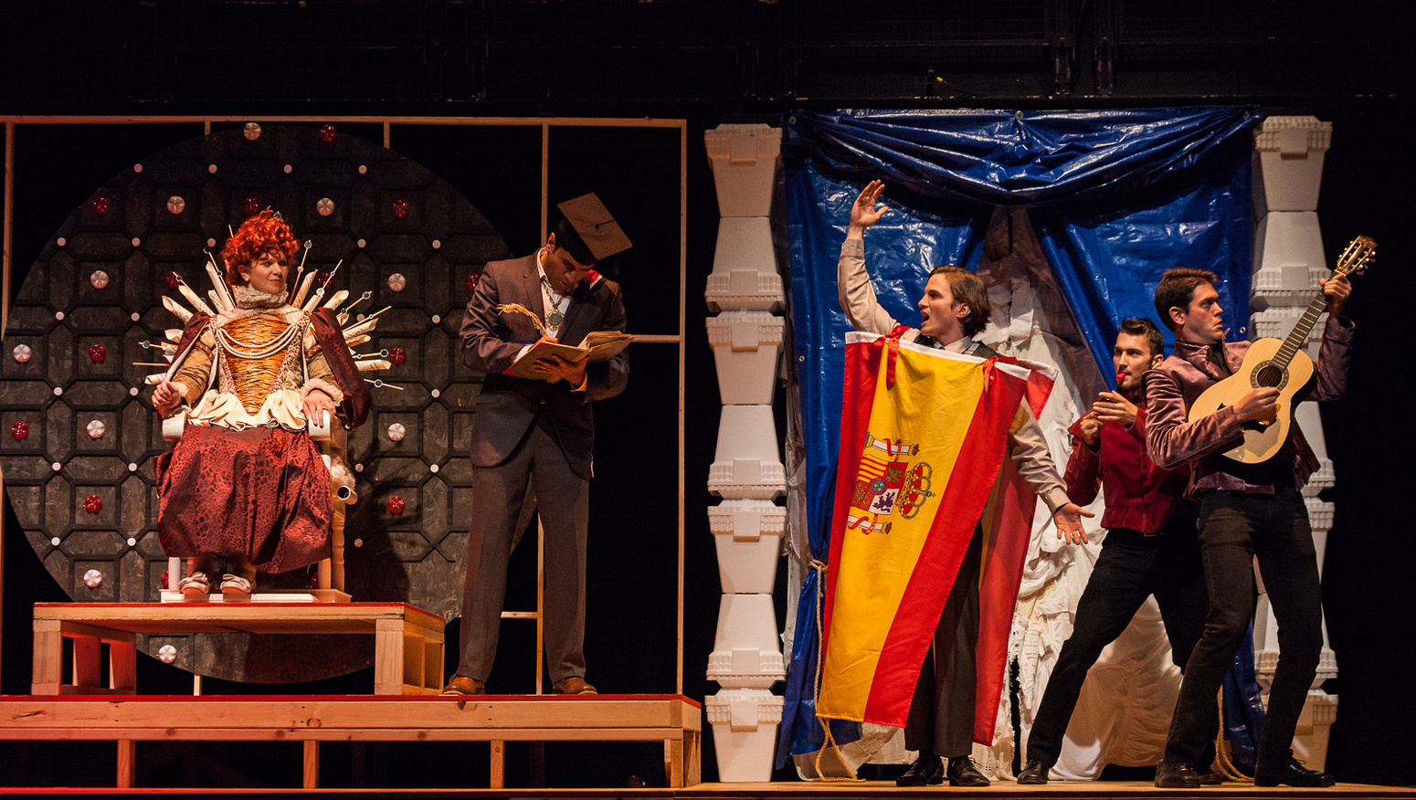 Elizabeth (Regan Linton) and her adviser Burghley (Danvir Singh) are greeted by the Spanish Ambassador (Tom Patterson).