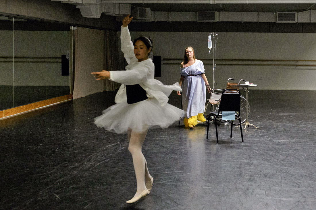 Ophelia (Jenny Grober) follows the flitting dream of the ballerina (Jenny Moon) she never got to be.